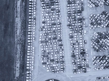 Aerial view of the customs car park. Stok Fotoğraf - 134753749