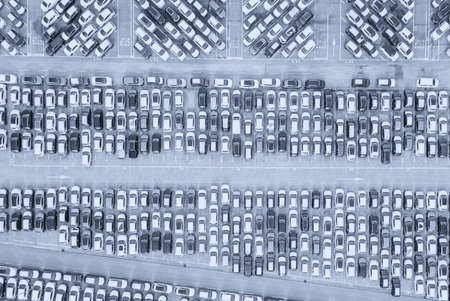 Aerial view of the customs car park. Stok Fotoğraf - 134753784