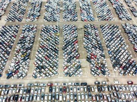 Aerial view of the customs car park. Stok Fotoğraf - 134753786