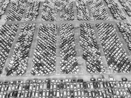 Aerial view of the customs car park. Stok Fotoğraf - 134753787