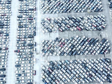 Aerial view of the customs car park. Stok Fotoğraf - 134753792