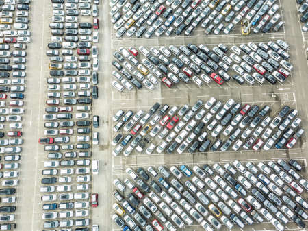 Aerial view of the customs car park. Stok Fotoğraf - 134753794