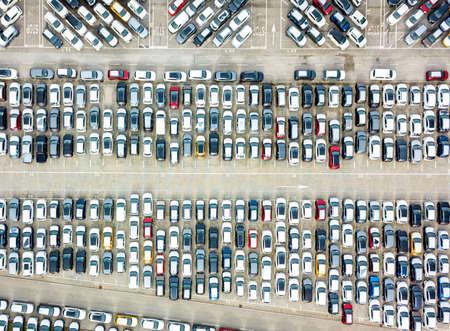 Aerial view of the customs car park. Stok Fotoğraf - 134753797