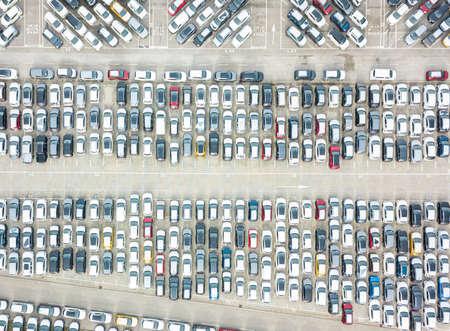 Aerial view of the customs car park. Stok Fotoğraf - 134753799