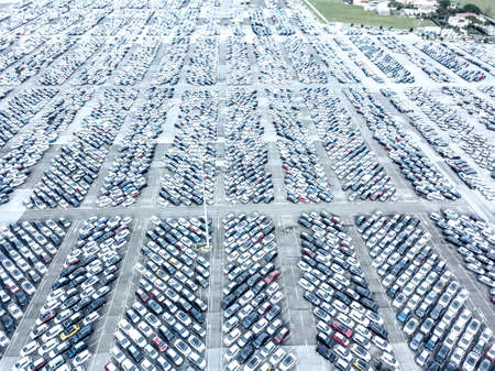 Aerial view of the customs car park.