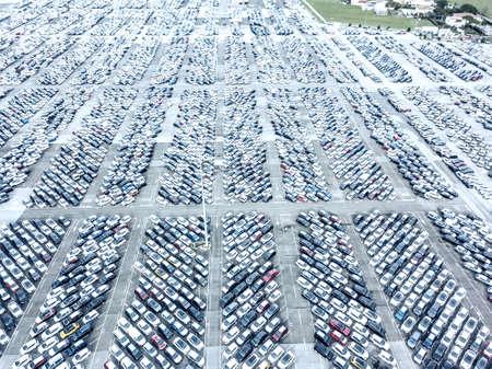 Aerial view of the customs car park. Stok Fotoğraf - 134753801