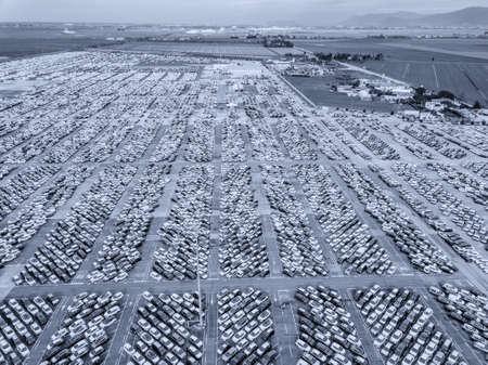 Aerial view of the customs car park. Stok Fotoğraf - 134753823