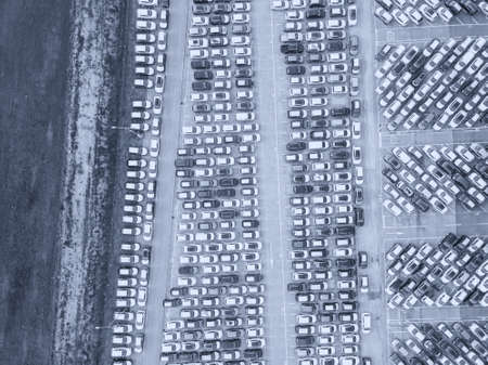 Aerial view of the customs car park. Stok Fotoğraf - 134753824