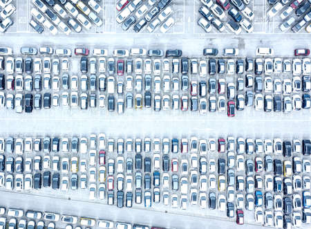 Aerial view of the customs car park. Stok Fotoğraf - 134753825