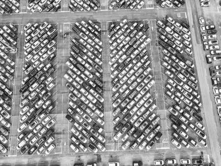 Aerial view of the customs car park. Stok Fotoğraf - 134753826
