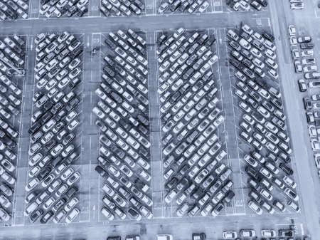 Aerial view of the customs car park. Stok Fotoğraf - 134753827