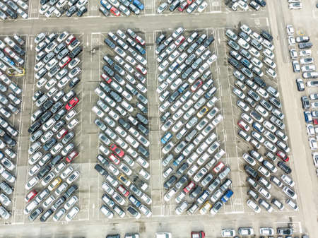 Aerial view of the customs car park. Stok Fotoğraf - 134753828