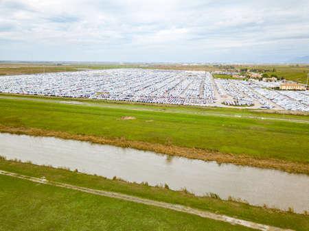 Aerial view of the customs car park. Stok Fotoğraf - 134753835