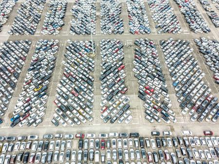 Aerial view of the customs car park. Stok Fotoğraf - 134753836