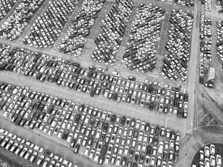 Aerial view of the customs car park. Stok Fotoğraf - 134753837