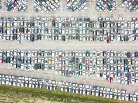 Aerial view of the customs car park. Stok Fotoğraf - 134753839