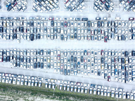 Aerial view of the customs car park. Stok Fotoğraf - 134753840