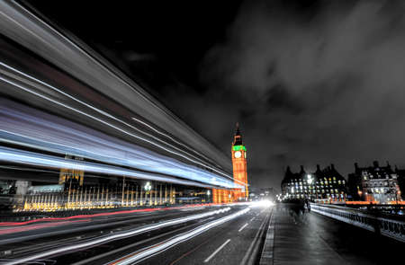 Night traffic on Westminster Bridge, long exposure.