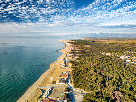 Aerial view of the coasts of Tuscany in winter. Stock Photo