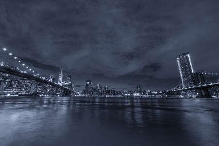 Brooklyn and Manhattan bridge from Brooklyn, NYC. Фото со стока