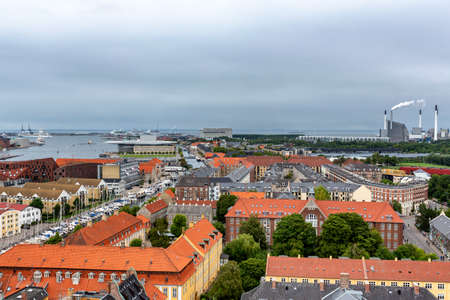 Panoramic view from a plane over Copenhagen.