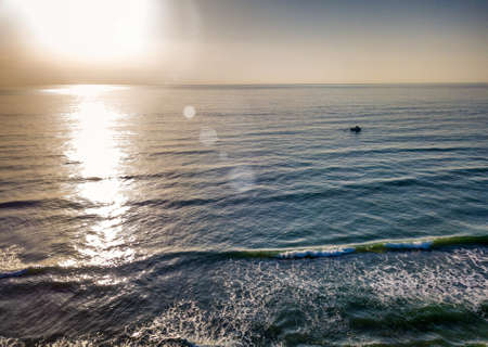 Aerial view of sunset over the sea photos taken by the drone. Stok Fotoğraf