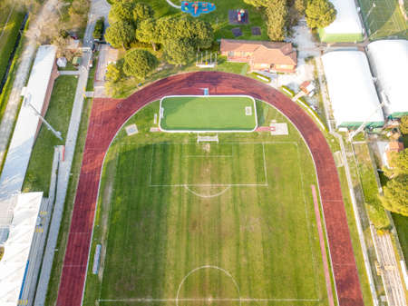 Aerial view from drone, sports facilities closed due to quarantine 스톡 콘텐츠