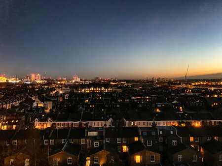 South west London skyline at sunset, aerial view.