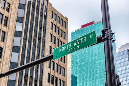 North Water st, sign street in Chicago.