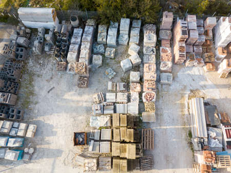 Aerial view from drone of warehouse  of building materials. 스톡 콘텐츠