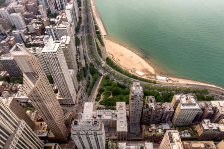 Aerial View North coast of Chicago. 스톡 콘텐츠