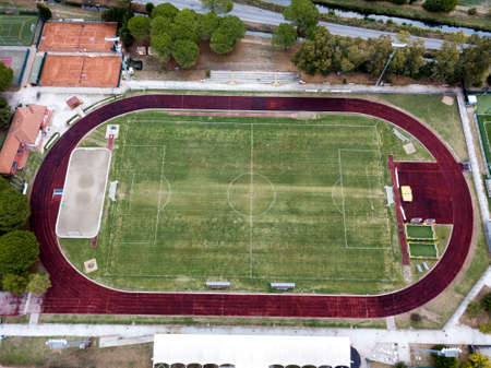 Athletics field, aerial view. Editorial