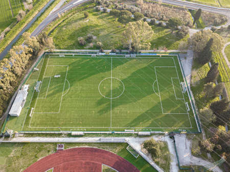 Aerial view from drone, sports facilities closed due to quarantine for Covid-19.