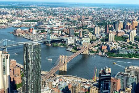 Manhattan aerial View with its bridges, Brooklyn Bridge and Manhattan Bridge.
