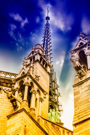 Details of Notre Dame Cathedral, Paris. 스톡 콘텐츠 - 148303518