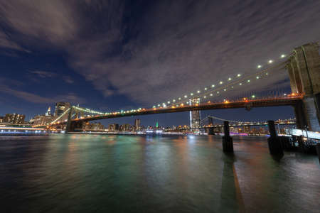 Brooklyn Bridge by night. 스톡 콘텐츠