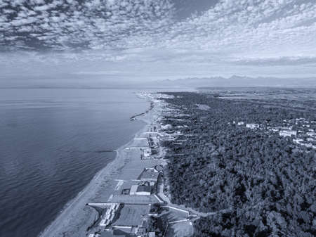 Aerial view of the coasts of Tuscany in winter. 스톡 콘텐츠 - 148303605