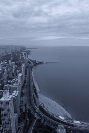 Aerial View North coast of Chicago. Archivio Fotografico - 148306941