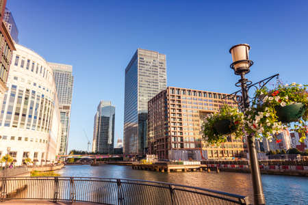 Beautiful view of canary Wharf. 스톡 콘텐츠 - 147770392