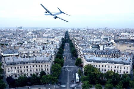 Airplane over Paris.