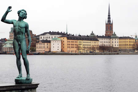 Statue outside stockholm town hall next to the river with swedish houses and court in the background