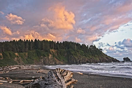 At the Quileute Oceanside Resort in La Push, Washington, looking south along the shore at sunset.