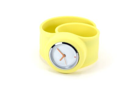 Yellow silicone wrist watch isolated on white background Stockfoto