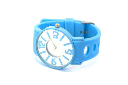 Blue silicone wrist watch isolated on white background