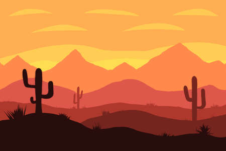 Desert sunrise with mountains and cactus on background illustration Stockfoto