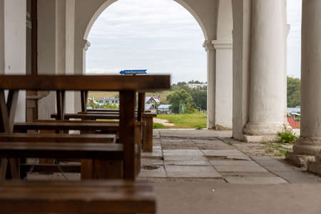 Closed due to pandemic ancient Suzdal town cafe with cafe Graf Suvorov sign
