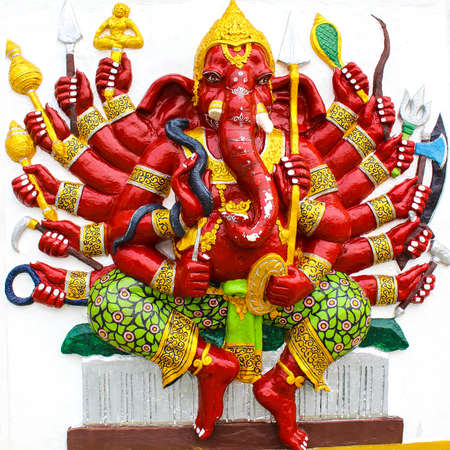 Ganesh in red on a white background