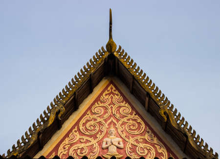 Gable style temple in Thailand at the temple  Stock Photo