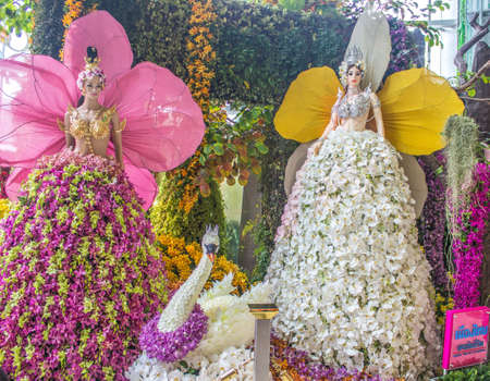 BANGKOK, THAILAND-JUNE6: Kinnaree decorated model of a variety of orchids. spicies in the event of 7th Siam Paragon Bangkok Royal Orchid Paradise on June 6, 2013 in Bangkok Thailand.