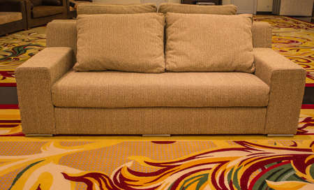 Brown sofa with cushions and beautiful carpet  Stock Photo